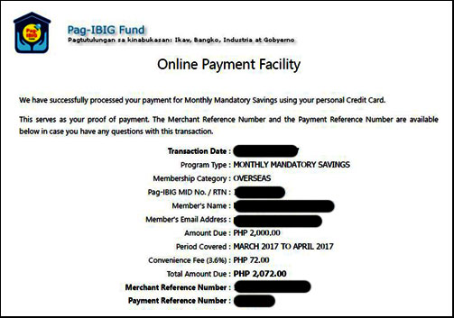 Pag-IBIG Contribution for March to April 2017