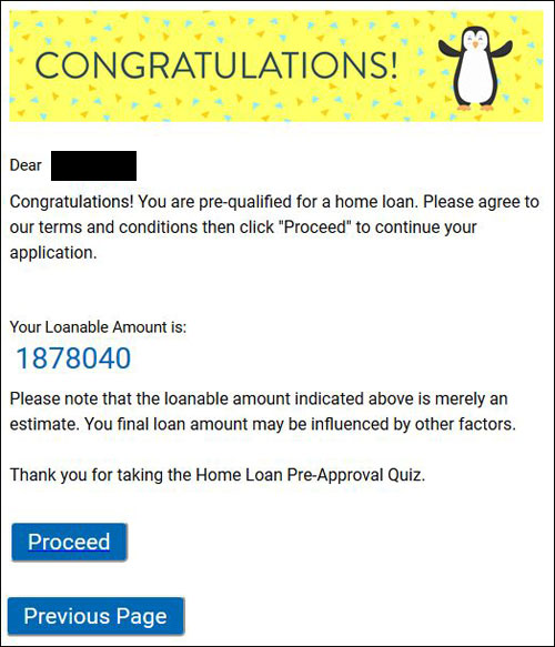 Housing Loan Quiz - Approved