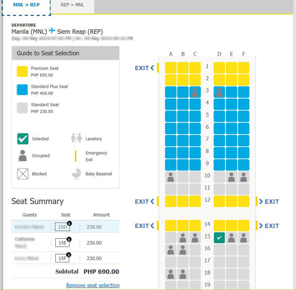 Cebu Pacific Seat Selection