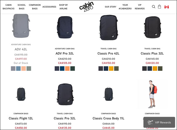 Cabinzero bags on sale in Black Friday