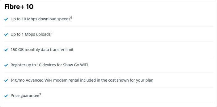 Cheap Shaw Internet Plan: Fibre+ 10