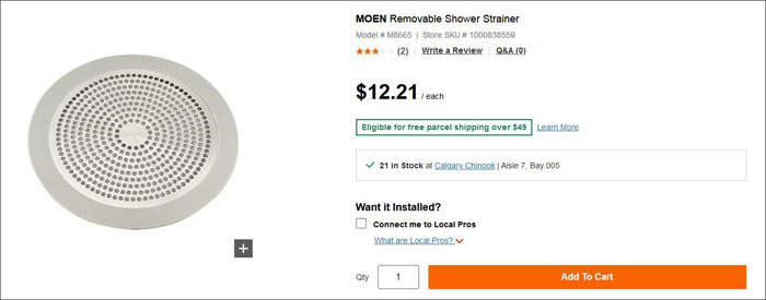 Moen shower strainer in Home Depot